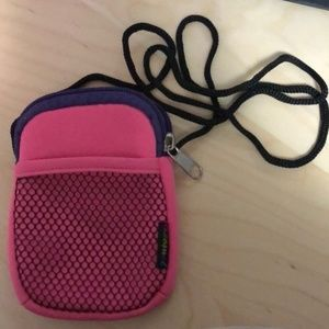 Pink Phone Pouch with Neck Strap